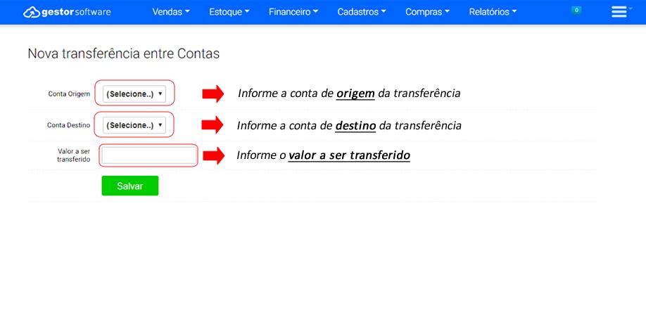 Transferências no Software